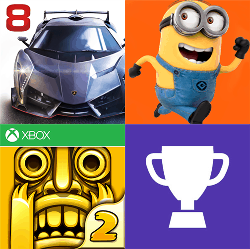 Asphalt 8, Bing Sports, Minion Rush and Temple Run 2