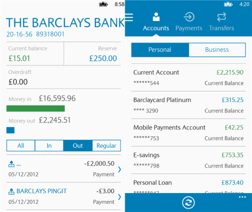 Barclays Mobile Banking app on Windows Phone 8