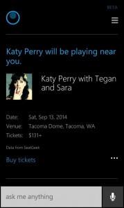 Cortana Concert Recommendations