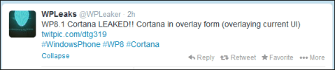 Cortana on Windows Phone 8.1 tweet