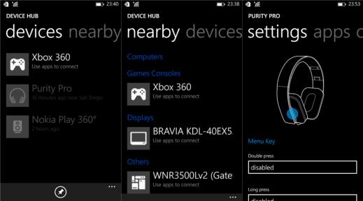 device hub for Windows Phone