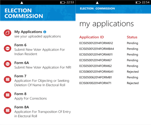 ECI Voters on Windows Phone 8