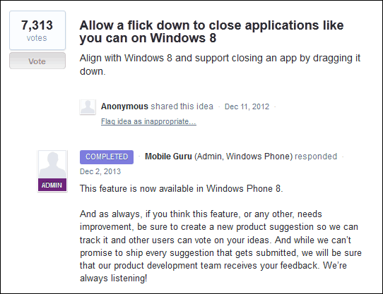 Flick down to close apps for Windows Phone 8