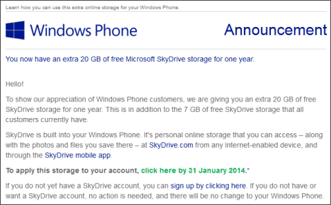 Free 20GB SkyDrive Space