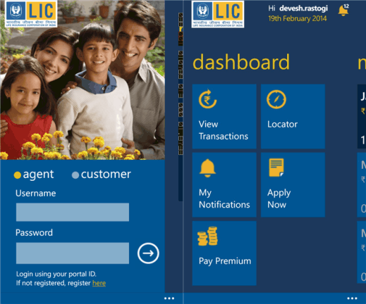 LIC Mobile for Windows Phone 8