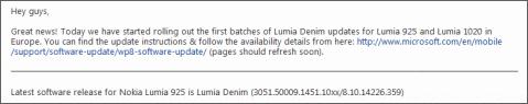 Lumia 925 Denim Update Europe