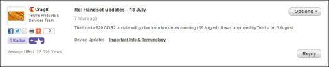 Lumia Amber update release Telstra Australia