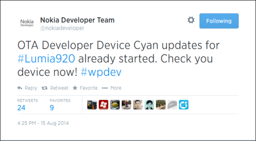 Lumia Cyan for Developer Preview devices