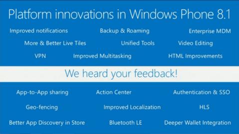 Platform innovations in WP8.1