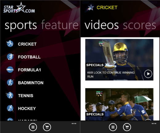 starsports.com app for Windows Phone 8.1 new
