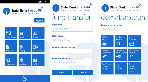 State Bank Freedom app for Windows Phone (Nokia Lumia) 3