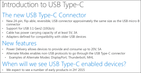 USB Type-C in Windows 10
