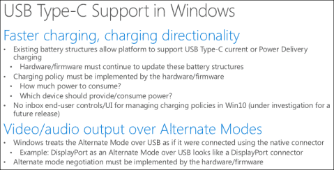 USB Type-C support in Windows 10