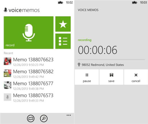 Voice Memos for Windows Phone 8
