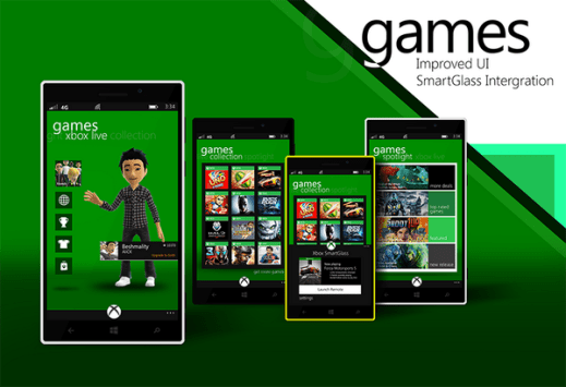 Windows Phone 8.1 games hub